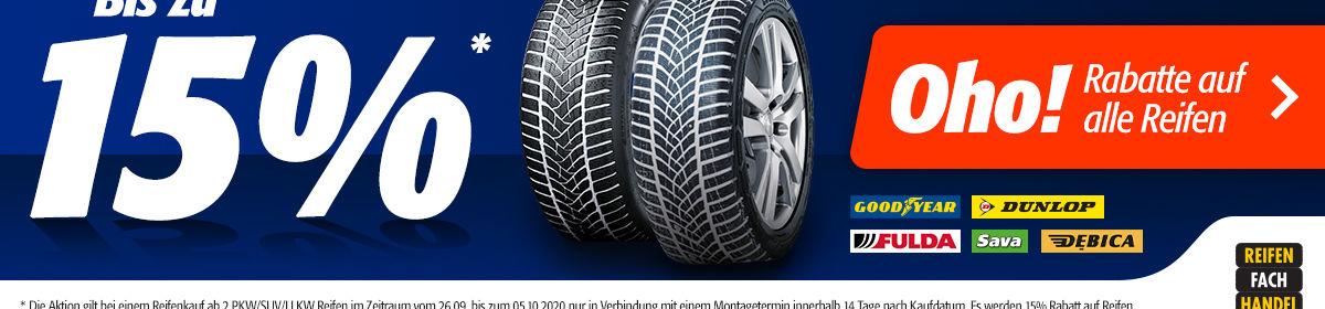 Bis zu 15% Rabatt auf Reifen